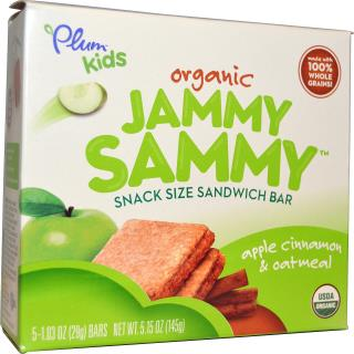 Plum Organics, Kids, Organic Jammy Sammy, Apple Cinnamon & Oatmeal, 5 Bars, 1.03 oz (29 g) Each