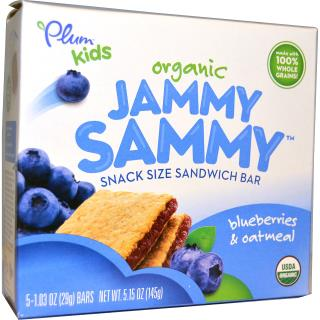 Plum Organics, Kids, Organic Jammy Sammy, Blueberries & Oatmeal, 5 Bars, 1.03 oz (29 g) Each