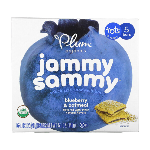 Jammy Sammy, Tots 15 Months & Up, Blueberry & Oatmeal, 5 Bars, 1.02 oz (29 g) Each