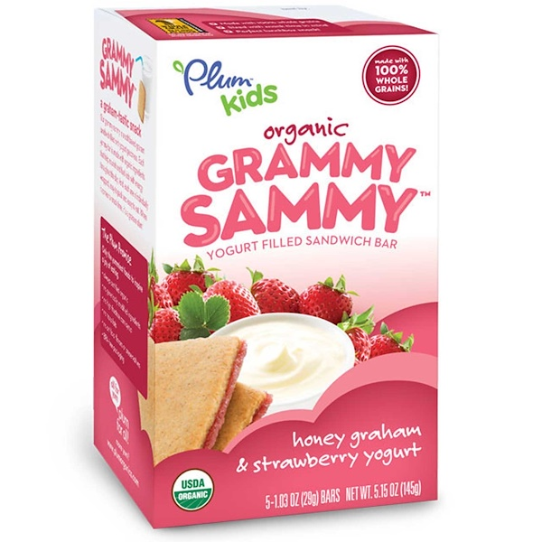 Plum Organics, Kids, Organic Grammy Sammy, Мед Грэхам & клубничный йогурт 5 батончиков, 1.03 унции (29 г) каждый (Discontinued Item)