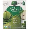 Plum Organics, طعام عضوي للرضع، المرحلة الثانية، الكمثرى، السبانخ والبازلاء، 4 أكياس، 4 أوقيات (113 غرام) لكل كيس