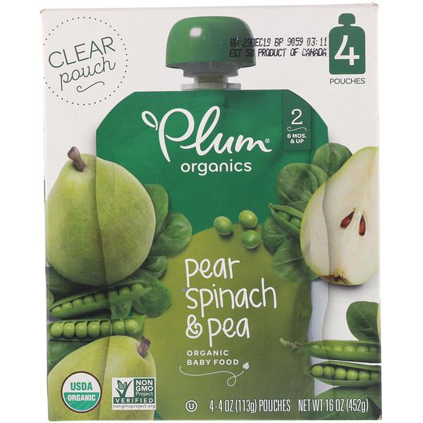 Plum Organics, オーガニックベビーフード、ステージ2、ナシ、ホウレンソウ & エンドウ豆、4ポーチ、各4オンス (113 g) (Discontinued Item)