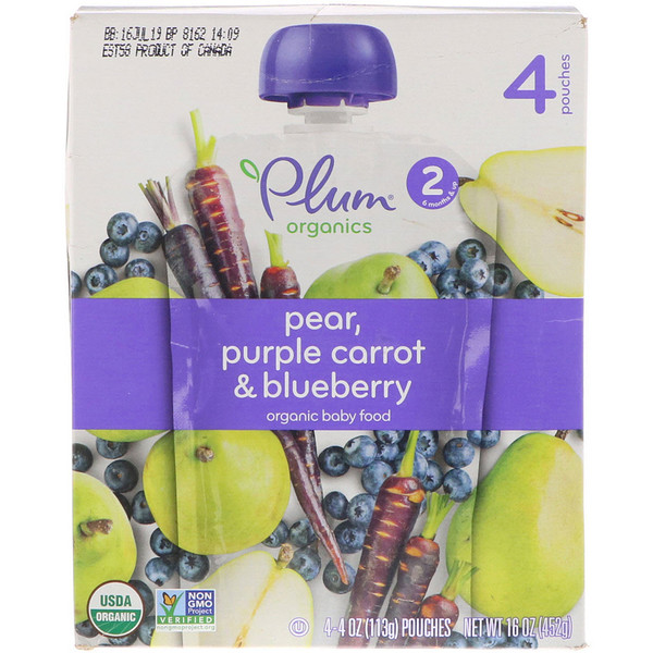 Plum Organics, Organic Baby Food, Stage 2, Pear, Purple Carrot & Blueberry,  4 Pouches, 4 oz (113 g) Each