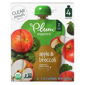 Plum Organics, Organic Baby Food, Stage 2, Apple & Broccoli, 4 Pouches, 4 oz (113 g) Each