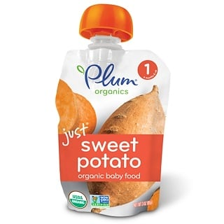 Plum Organics, Organic Baby Food, Stage 1, Just Sweet Potato, 3 oz (85 g)