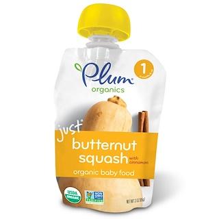 Plum Organics, Organic Baby Food, Stage 1, Just Butternut Squash with Cinnamon, 3 oz (85 g)
