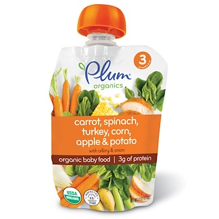 Plum Organics, Organic Baby Food, Stage 3, Carrot, Spinach, Turkey, Corn, Apple & Potato, 4 oz (113 g)