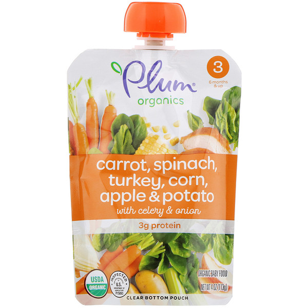Plum Organics, Organic Baby Food, Stage 3, Carrot, Spinach, Turkey, Corn, Apple & Potato with Celery & Onion, 4 oz (113 g)