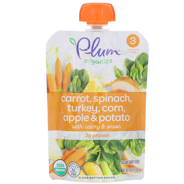 Plum Organics, Organic Baby Food, Stage 3, Carrot, Spinach, Turkey, Corn, Apple & Potato with Celery & Onion, 4 oz (113 g)