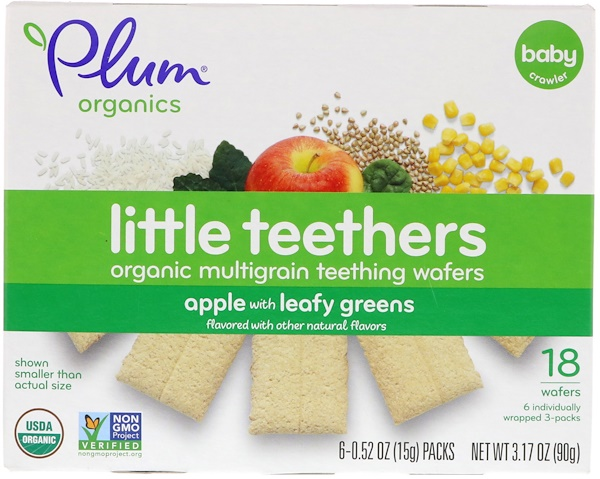 Little Teethers, Organic Multigrain Teething Wafers, Apple with Leafy Greens, 6 Packs, 0.52 oz (15 g) Each