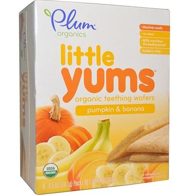 Little Yums, органические вафли для прорезывающихся зубов, тыква и банан, 6 упаковок, 0,5 унции (14,1 г) каждая