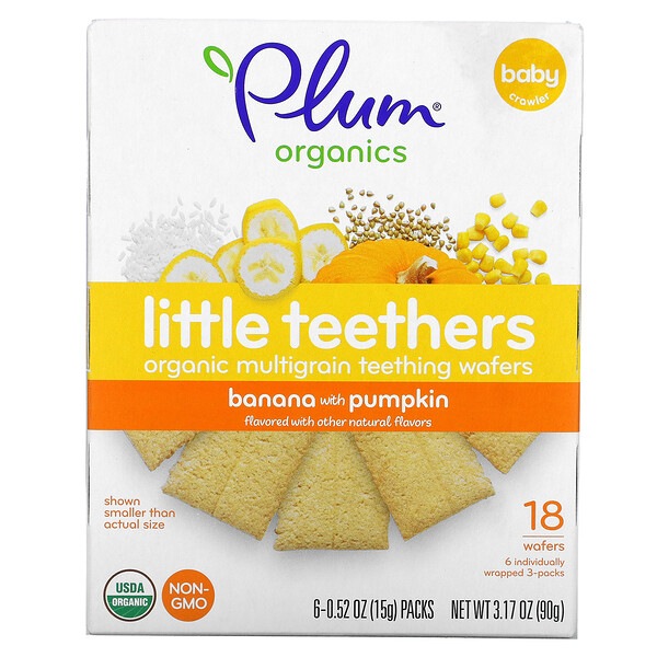 Plum Organics, Little Teethers, Organic Multigrain Teething Wafers, Banana with Pumpkin, 6 Packs, 0.52 oz (15 g) Each