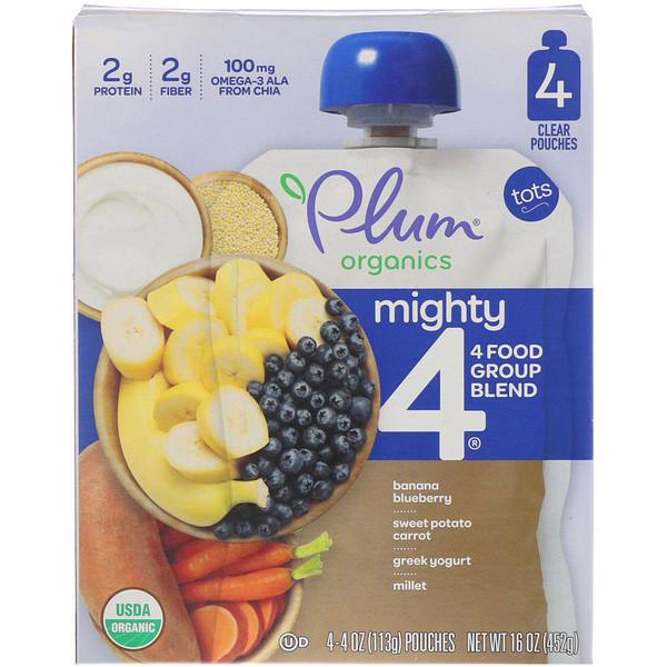 Plum Organics, Tots, Mighty 4, 4 Food Group Blend, Banana Blueberry, Sweet Potato Carrot, Greek Yogurt, Millet, 4 Pack, 4 oz (113 g) Each (Discontinued Item)