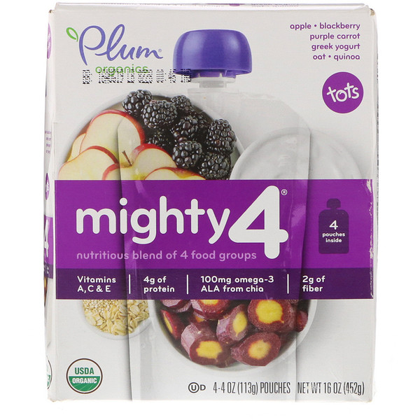 Plum Organics, Tots, Mighty 4, Nutritious Blend of 4 Food Groups, Apple - Blackberry, Purple Carrot, Greek Yogurt Oat & Quinoa, 4 Pouches, 4 oz (113 g) Each