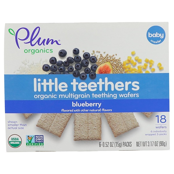 Plum Organics, Little Teethers, Organic Multigrain Teething Wafers, Blueberry, 6 Packs, 0.52 oz (15 g) Each
