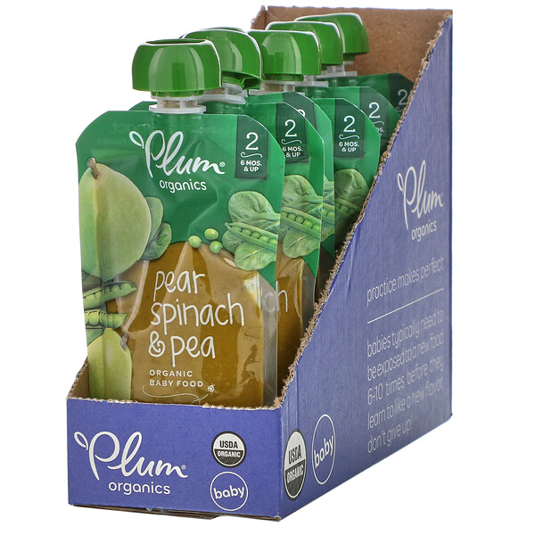 Plum Organics, Organic Baby Food, 6 Months & Up, Pear, Spinach & Pea, 6 Pouches, 4 oz (113 g) Each