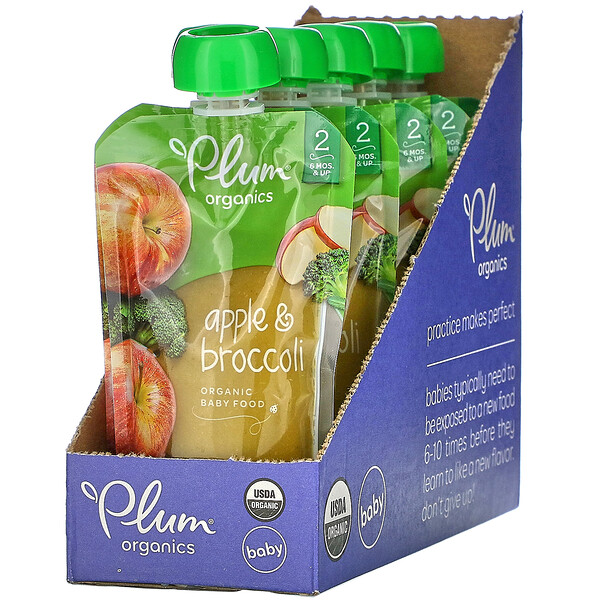 Plum Organics, Organic Baby Food, 6 Months & Up, Apple & Broccoli,  6 Pouches, 4 oz (113 g) Each (Discontinued Item)