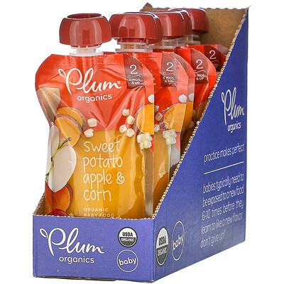 Plum Organics Organic Baby Food, 6 Months & Up, Sweet Potato, Apple & Corn, 6 Pouches, 4 oz (113 g) Each