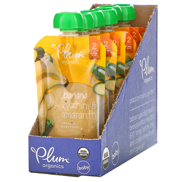 Plum Organics, Organic Baby Food, 6 Months & Up, Banana, Zucchini & Amaranth, 6 Pouches, 3.5 oz (99 g) Each (Discontinued Item)