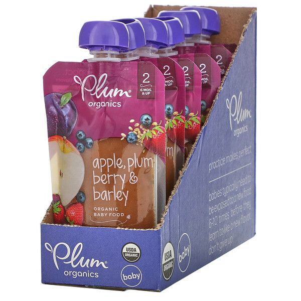 Plum Organics, Organic Baby Food, 6 Months & Up, Apple, Plum Berry & Barley, 6 Pouches, 3.5 oz (99 g) Each
