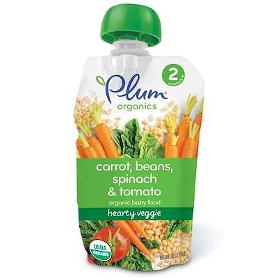 Plum Organics 有機嬰兒食品,第2階段,豐盛素食,胡蘿蔔,豆類,菠菜和番茄,3.5盎司(99克)
