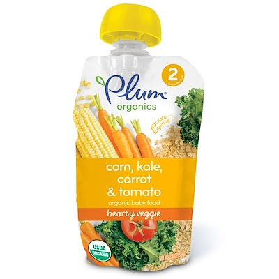 Plum Organics Organic Baby Food, Stage 2, Hearty Veggie, Corn, Kale, Carrot & Tomato, 3.5 oz (99 g)