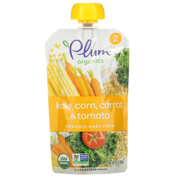 Organic Baby Food, Stage 2, Kale, Corn, Carrot & Tomato, 3.5 oz (99 g)