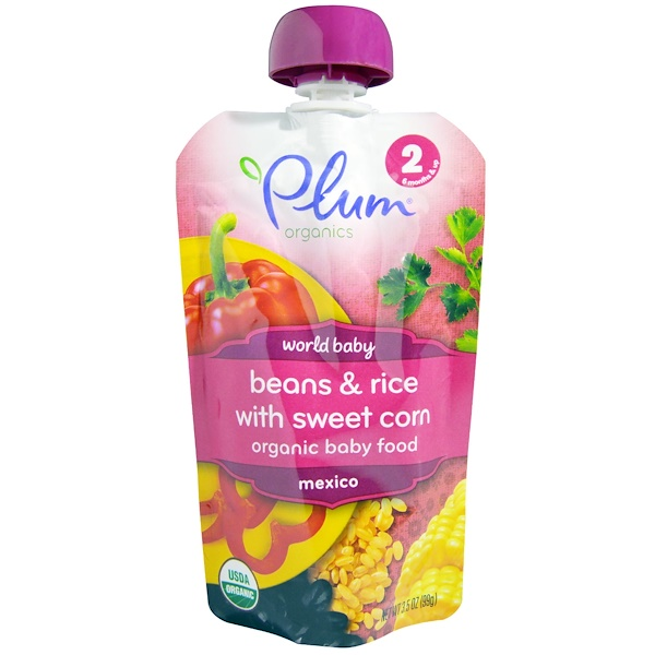 Plum Organics, Organic Baby Food, Stage 2, Beans & Rice With Sweet Corn, 3.5 oz (99 g) (Discontinued Item)