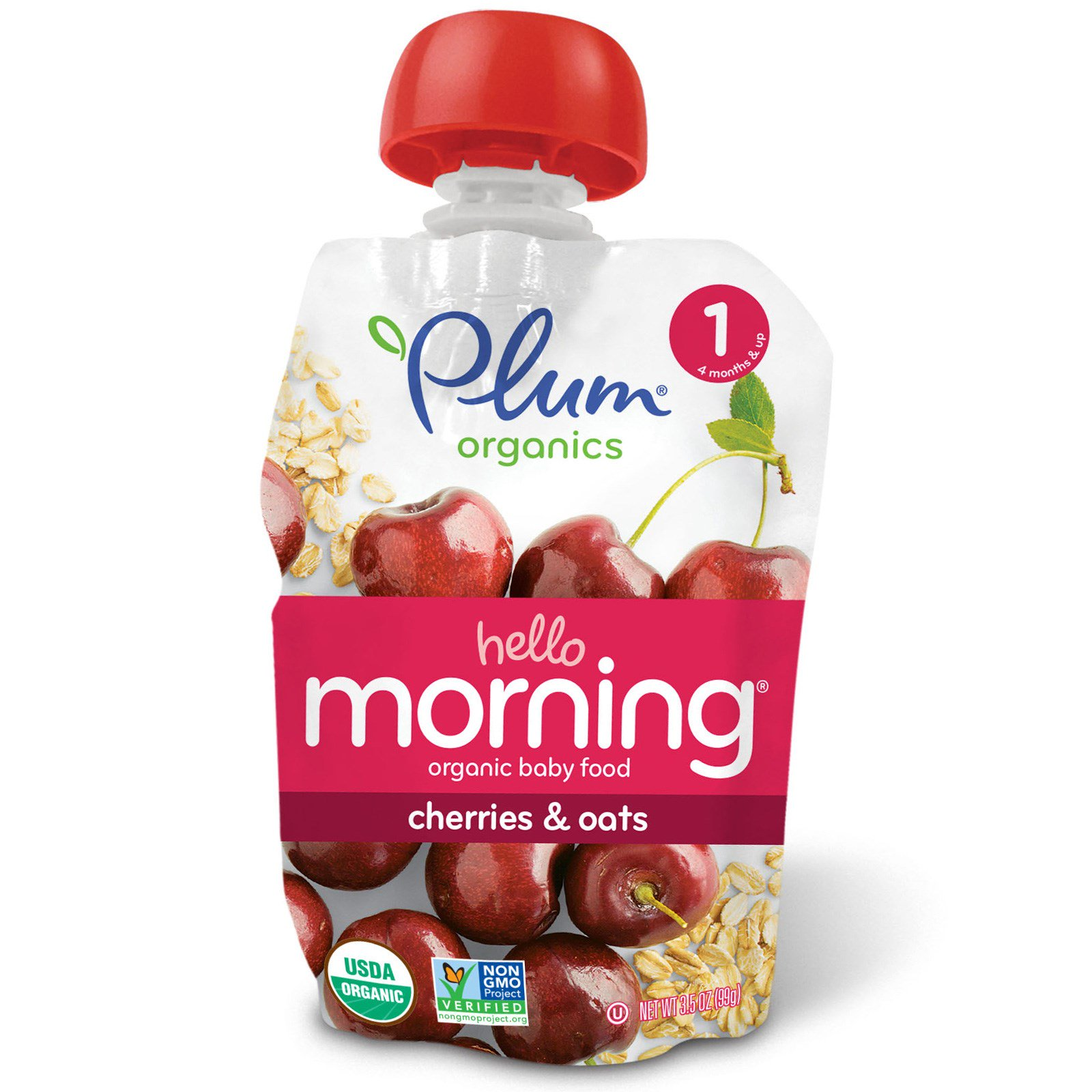 Plum Organics Organic Baby Food Stage 1 Hello Morning Cherries Oats