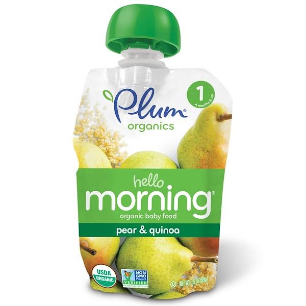 Plum Organics, Organic Baby Food, Hello Morning, Stage 1, Pear & Quinoa, 3.5 oz (99 g) (Discontinued Item)