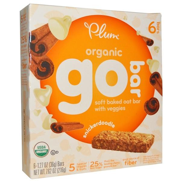 Plum Organics, オーガニックゴーバー(Go Bar), スニッカードードル(シナモン味のバタークッキー), 6バー, 各1.27オンス(36 g) (Discontinued Item)