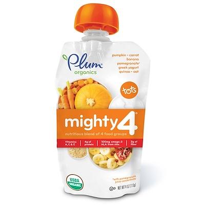 Plum Organics Tots, Mighty 4, Nutritious Blend of 4 Food Groups, Pumpkin, Carrot, Banana, Pomegranate, Greek Yogurt, Quinoa & Oat, 4 oz (113 g)