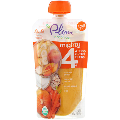 Купить Tots, Mighty 4, 4 Food Group Blend, Banana, Peach, Pumpkin, Carrot, Greek Yogurt, Oat, 4 oz (113 g)