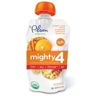 Plum Organics, Tots, Mighty 4,  Nutritious Blend of 4 Food Groups, Pumpkin, Carrot, Banana, Pomegranate, Greek Yogurt, Quinoa & Oat, 4 oz (113 g)