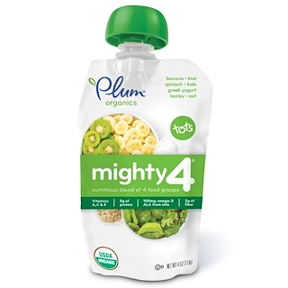 Plum Organics, Tots, Mighty 4,  Nutritious Blend of 4 Food Groups, Spinach, Kiwi, Barley, Greek Yogurt, 4 oz (113 g)