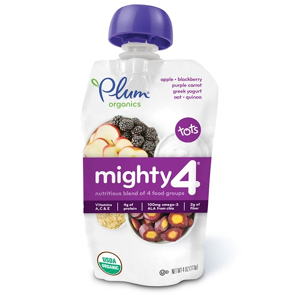 Plum Organics, Tots, Mighty 4, Nutritious Blend of 4 Food Groups, Apple, Blackberry, Purple Carrot, Greek Yogurt, Oat & Quinoa, 4 oz (113 g)