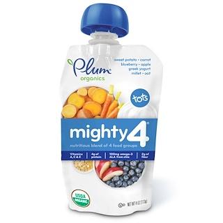 Plum Organics, Mighty 4、幼児用、4つの食品グループを高栄養にブレンド、サツマイモ、ニンジン、ブルーベリー、リンゴ、ギリシャ風ヨーグルト、キビ、オーツ麦、4 oz (113 g)