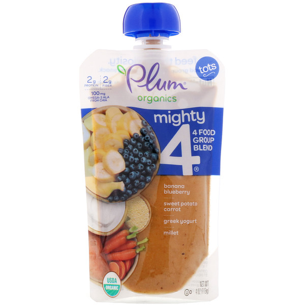 Plum Organics, Tots, Mighty 4, 4 Food Group Blend, Banana, Blueberry, Sweet Potato, Carrot, Greek Yogurt, Millet, 4 oz (113 g)