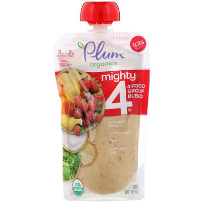 Фото - Mighty 4, для детей, питательная смесь 4 групп продуктов, клубника, банан, капуста, греческий йогурт, овес и амарант, 4 унции (113 г) органическое детское питание 2 этап банан и тыква 4 унц 113 г