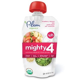 Plum Organics, Tots, Mighty 4,  Nutritious Blend of 4 Food Groups, Strawberry, Banana, Kale, Greek Yogurt, Oat & Amaranth, 4 oz (113 g)
