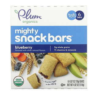 Plum Organics, Mighty Snack Bars, Tots, Blueberry, 6 Bars, 0.67 oz (19 g) Each