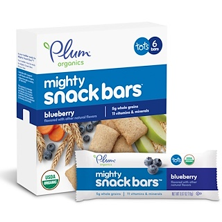 Plum Organics, Tots, Mighty Snack Bars, Blueberry, 6 Bars, 0.67 oz (19 g) Each