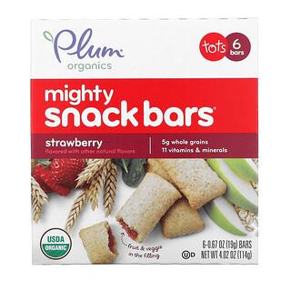 Plum Organics, MightySnackBars, для малышей, клубничный вкус, 6батончиков по 19г (0,67унции)
