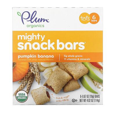Plum Organics Полезные закусочные батончики с тыквой и бананом, 6 батончиков, каждый по 0,67 унц. (19 г.)
