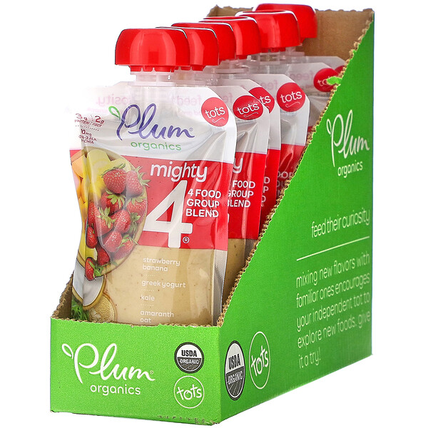 Plum Organics, Mighty 4, 4 Food Group Blend, Tots, Strawberry, Banana, Greek Yogurt, Kale, Amaranth, Oat, 6 Pouches, 4 oz (113 g) Each