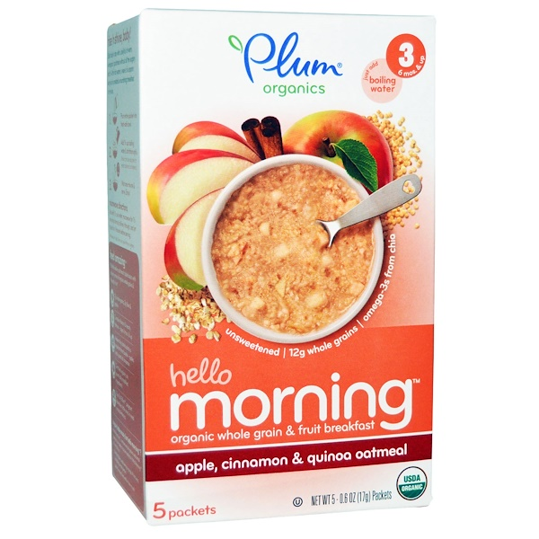 Plum Organics, Hello Morning, Apple, Cinnamon & Quinoa Oatmeal, 5 Packets 0.6 oz (17 g) Each (Discontinued Item)
