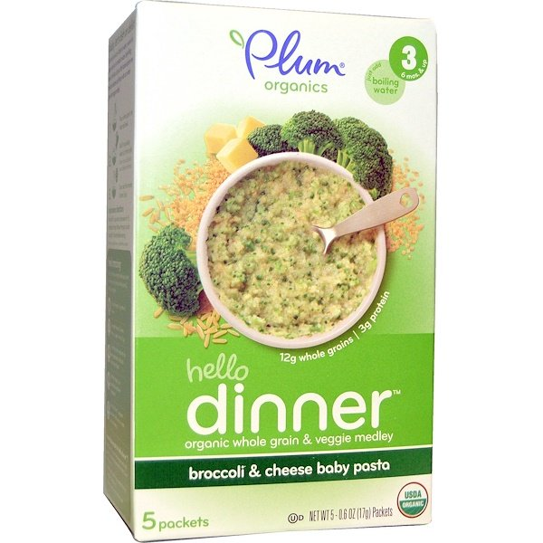 Plum Organics, Hello Dinner, Broccoli & Cheese Baby Pasta, 5 Packets, 0.6 oz (17 g) Each (Discontinued Item)