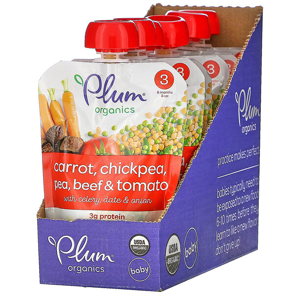 Plum Organics, Organic Baby Food, 6 Months & Up, Carrot, Chickpea, Pea, Beef & Tomato, 6 Pouches, 4 oz (113 g) Each