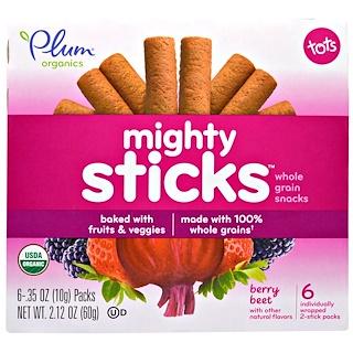 Plum Organics, Tots, Mighty Sticks, Whole Grain Snacks, Berry Beet, 6 Packs, .35 oz (10 g) Each