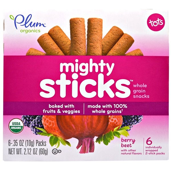 Plum Organics, Tots, Mighty Sticks, Whole Grain Snacks, Berry Beet, 6 Packs, .35 oz (10 g) Each (Discontinued Item)